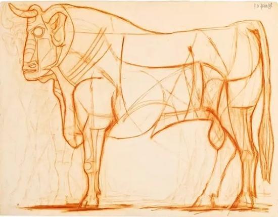 毕加索,《公牛》,1949年