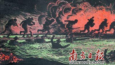 《人桥》(版画) 古元美术馆藏 古元 作