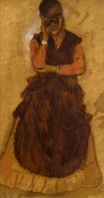 《持望远镜的伦敦女孩》(London Girl Looking Through Field Glasses),埃德加·德加,约1866年
