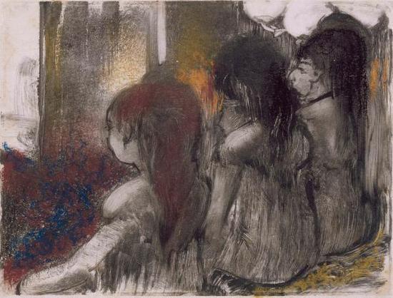 《从后面看,妓院里的三个女人》(Three Women in a Brothel,Seen from Behind),埃德加·德加,1877-79年