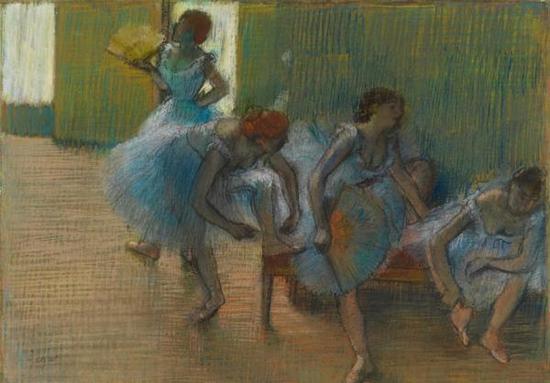 《长凳上的舞女》(Dancers on a Bench),埃德加·德加,约1898年