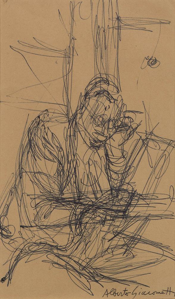 贾科梅蒂,阅读中的迭亚戈,纸本蓝色圆珠笔,1952