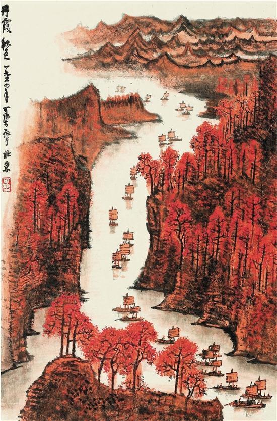 李可染 丹霞秋色 1964年作 2017年10月中国嘉德香港秋季五周年庆典拍卖会 成交价:HKD33,230,000