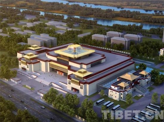 西藏博物馆新馆鸟瞰图效果图