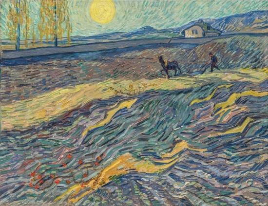 梵高《田野里犁地的农夫》