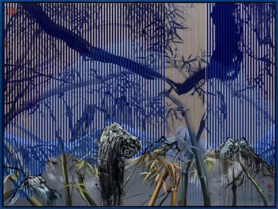 那危 《竹石江山图4》布面油画、绢本中国水墨150x200cm 2016