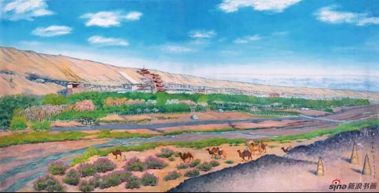 常书鸿、李承仙《 敦煌春天》 油画 191.5×372 cm