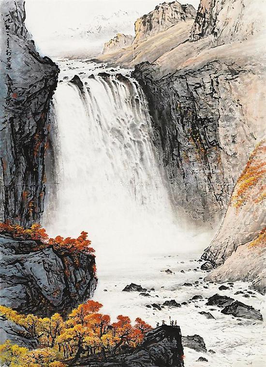 关山月绘于1972年的作品《天池飞瀑》