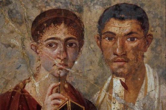 佚名《特兰迪尤斯·内奥和他的妻子》公元前20-30世纪 壁画 @那不勒斯国家考古博物馆