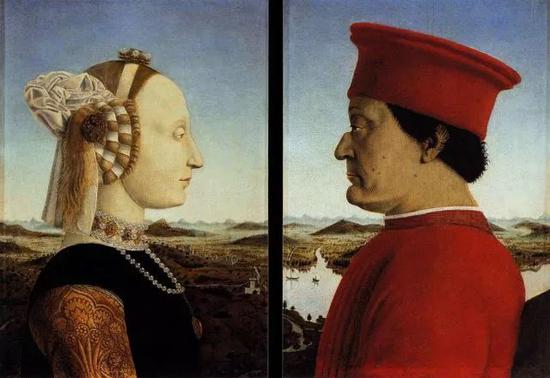 皮耶罗·德拉·弗朗切斯卡《乌尔比诺公爵夫妇肖像》1465-1472年 蛋彩画 @佛罗伦萨乌菲兹美术馆
