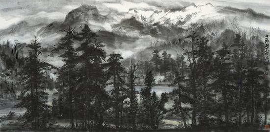 岳黔山  西藏林芝写生69cm×138cm  水墨纸本