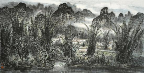 岳黔山  广西写生69cm×138cm  水墨纸本
