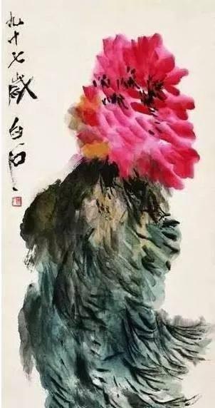 齐白石《风中牡丹》,1957年。