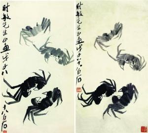左:蟹(伪作) 右:齐白石《蟹》 收录于《齐白石画集》