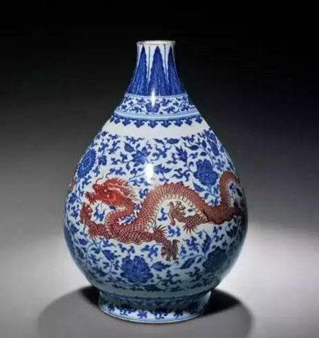 清雍正 青花矾红穿花龙纹玉壶春瓶 尺寸 高27.7cm