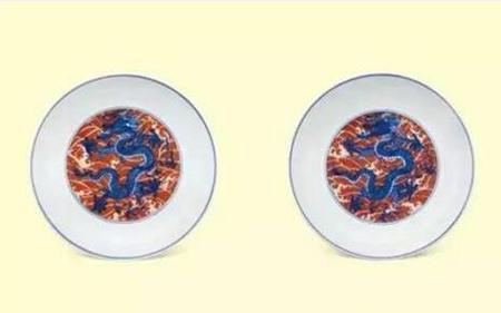 清康熙 矾红海水青花龙纹盘 (一对) 尺寸 直径18.2cm