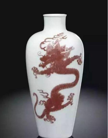 清康熙 釉里红龙纹莱菔尊 尺寸 22.1cm
