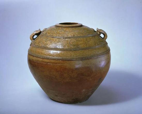 西汉青釉原始瓷划花双系罐