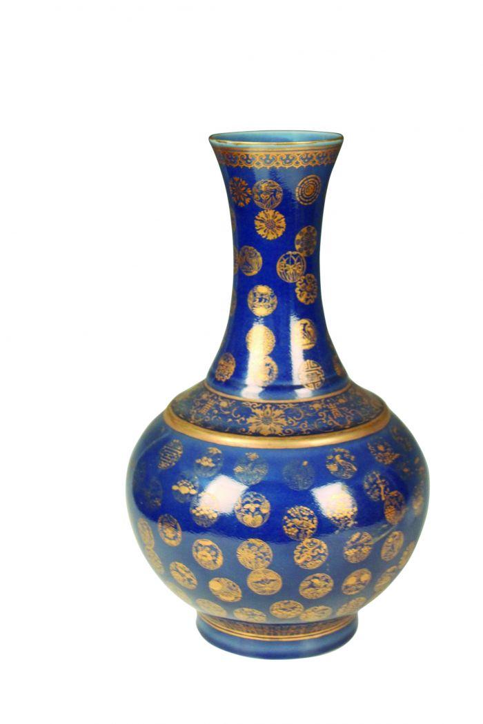 图1-1 清景德镇窑仿光绪霁蓝釉描金赏瓶