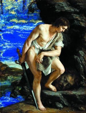 英国伦敦国家美术馆曾展出意大利画家奥拉齐奥·真蒂莱斯基的小型油画《注视歌利亚头颅的大卫》,这幅画被怀疑是伪作。
