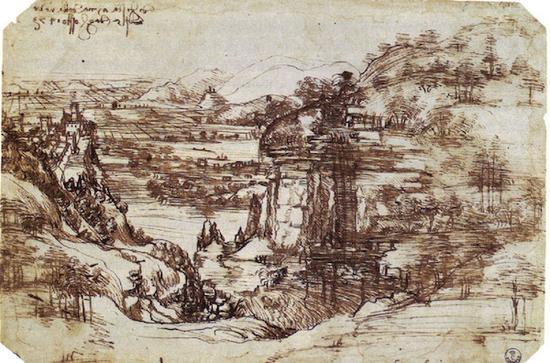 《风景》达-芬奇 纸本墨笔 1473 年 乌菲齐美术馆藏。