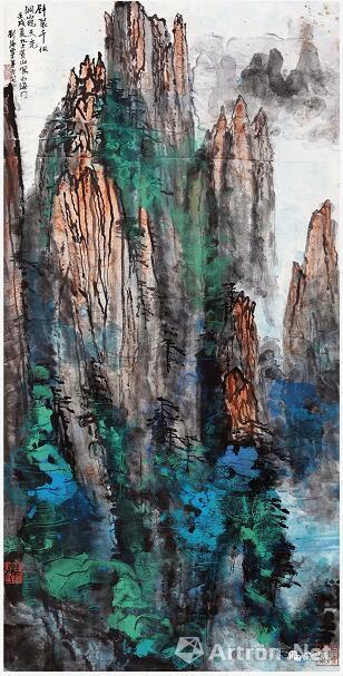 刘海粟 壁裂千仞 洞窥天光 68cm×136cm 1981常州刘海粟美术馆藏