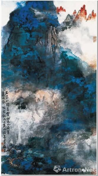 刘海粟 石笋矼头看云松 52.3cm×97.5cm 1983