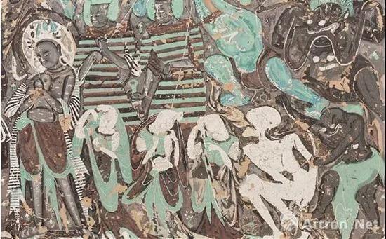 牡丹(中央美术学院) 敦煌北魏254窟降魔变局部临摹