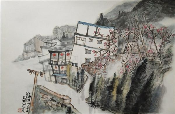 周斌2017-林州辉伏岩即景-46x68cm.JPG