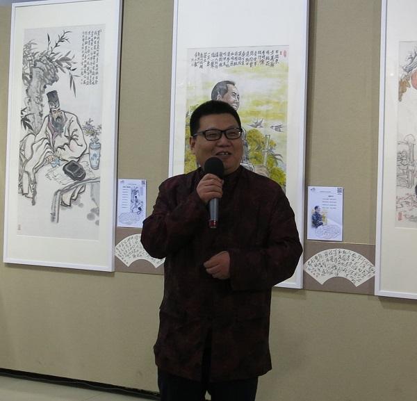 人民美术网的创始人,画展的学术主持李德哲讲话.jpg
