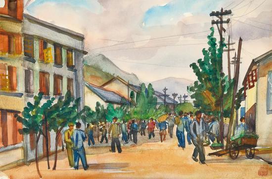 Lot.735 倪贻德 小城街头之一 1940年代末至1950年代初   纸本水彩 24×36.3cm。   来源:直接征集自画家家属