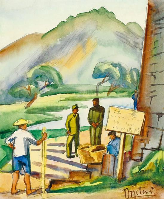 Lot.738 倪贻德 桥边 1943年   纸本水彩 23.5×19.5cm。   来源:直接征集自画家家属