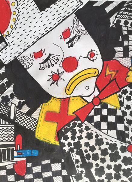 J860101005-介休市万唯美术培训中心-宋佳霖-男-7岁-《忧伤的小丑》-指导老师:韩晓琴.jpg