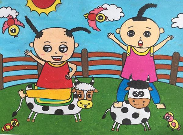 J860101013-介休市万唯美术培训中心-陈一铭-男-5岁-《戏牛》-指导老师:降文慧.jpg