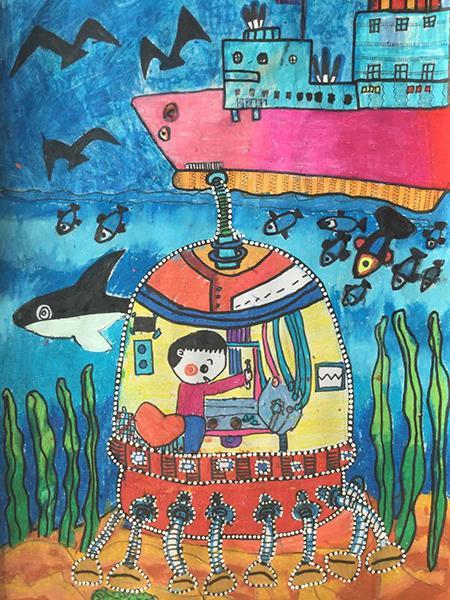 J860101014-介休市万唯美术培训中心-李晨雨-男-7岁-《海底遨游》-指导老师:韩晓琴.jpg