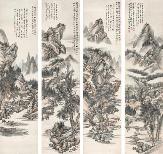 Lot140 冯超然 山水四屏   立轴(四帧) 设色纸本   1904年、1943年作   出版:《中国近代绘画丛刊·冯超然》第4至5页,(台北)雅墨文化事业有限公司,2008年1月   著录:《冯超然年谱》第20至21页,上海书画出版社,2007年12月   127.5×31.5 cm。(4) ,约3.6平尺(每幅)