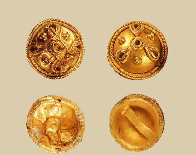 1983年广州西汉南越王墓出土的焊珠工艺金花泡饰。