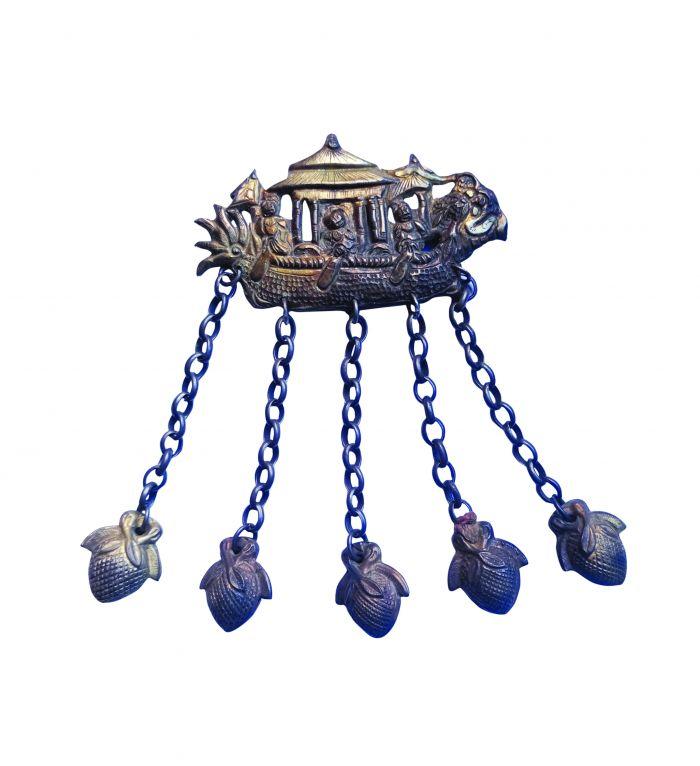 清代划龙舟鎏金银饰