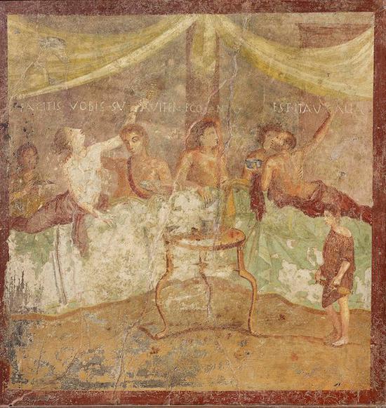 罗马人用餐时的壁画
