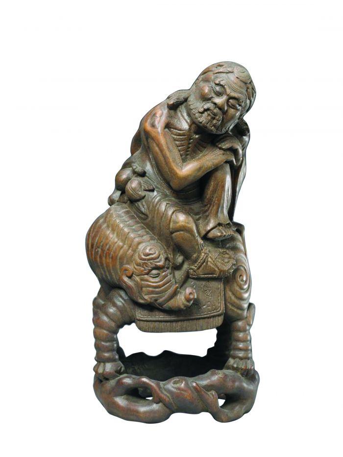 图1清代竹根雕骑象尊者