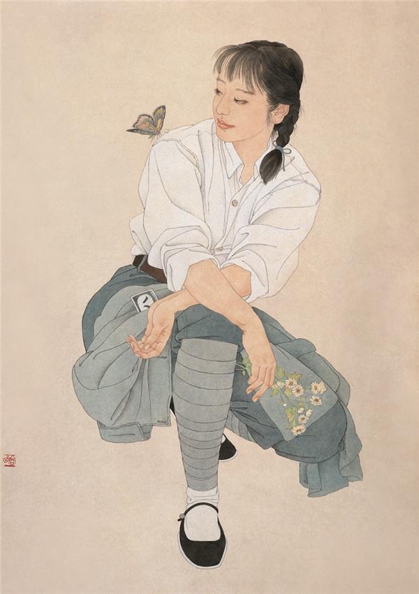 小花  纸本 105cm x 76cm 2001年 入选第十届全国美术作品展.jpg