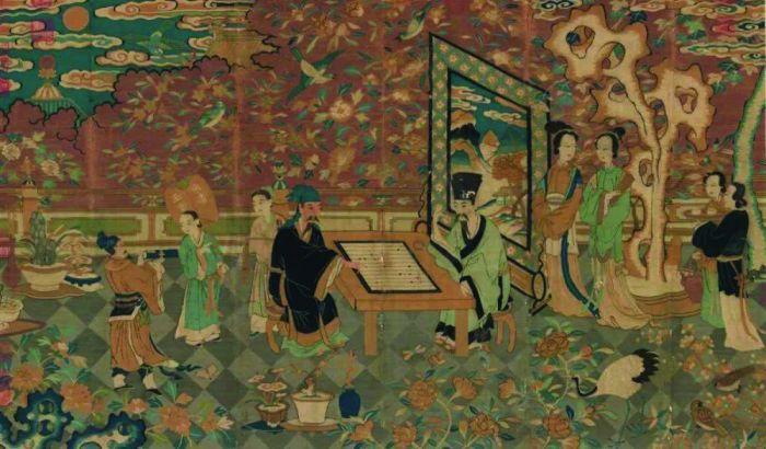 《谢安赌墅图》,宋,缂丝,台北故宫博物院藏