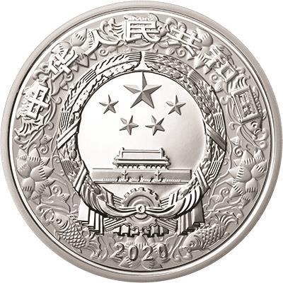 150克圆形精制银质彩色纪念币正面图案