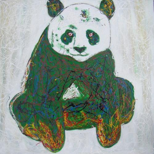 魏琨铭的《诡异的汉字》系列作品,很诡异也很简练,每一幅画都是